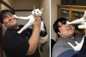 '아아악!' 집사의 뽀뽀를 격하게 거부하는 고양이들