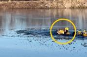 사슴을 구하기 위해 얼음을 깨며 15m를 헤엄친 구조대